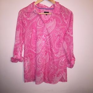 Talbots Pink Patterned Button Down Shirt | M